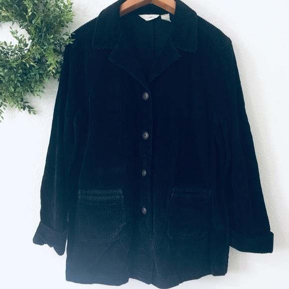 J. Jill Jackets & Blazers - J Jill Vintage Corduroy Black Button Up Jacket